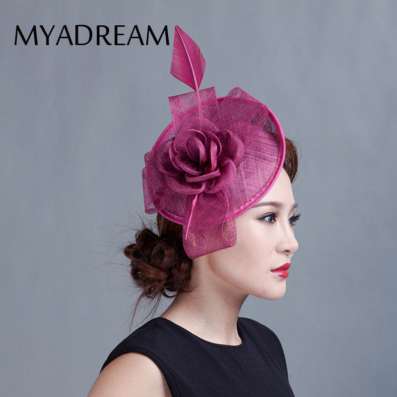 b254903d6ef MYADREAM Large Feather Rose Flower Fedora Elegant Handmade Sinamay  Fascinator Chapeau Femme Hats for Women Wedding Top Hat Toca -in Fedoras  from Apparel ...