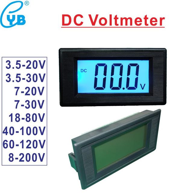 Electric bike Voltmeter DC Voltage Meter Two wire LCD Digital ... on