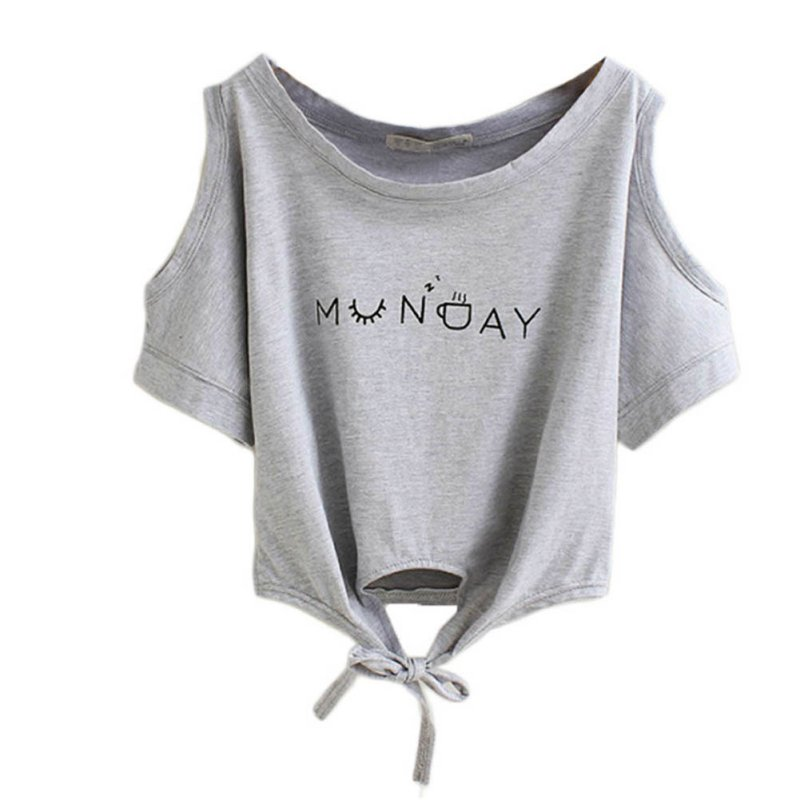 e3676c95c683 Women Clothes Summer T-shirt Elegant Letter Shoulder Off Print Crop Top  Short Sleeve O-neck Shirt Loose Topsfaithinkapparel.comWomen Clothes Summer  T-shirt ...