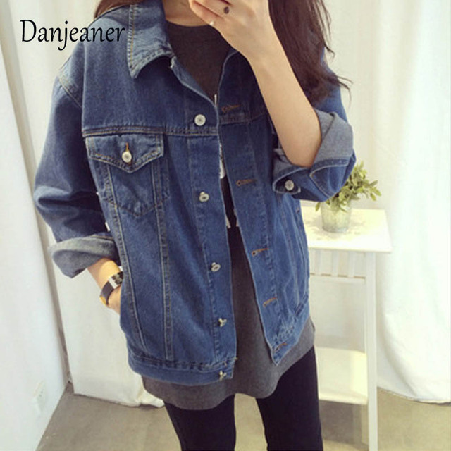 707f76d3e4f Danjeaner 2018 Women Basic Coat Denim Jacket Winter Korean Style Jean Jacket  For Women Casual Plus