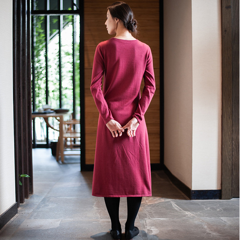 Nouvelles cou Knittd Femmes 2019 A D'o Vintage Complet Noir Chandail Hiver Johnature Automne Pull rouge ligne Broderie Manches over CpStqX8