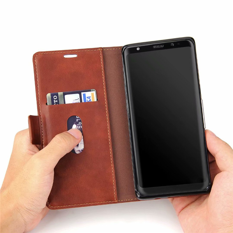 Fashion PU Leather Retro Crazy Horse Wallet Flip Kickstand Case For Samsung Galaxy Note 8 Card Slot Pocket Magnetic Stand Cover in Wallet Cases from Cellphones Telecommunications