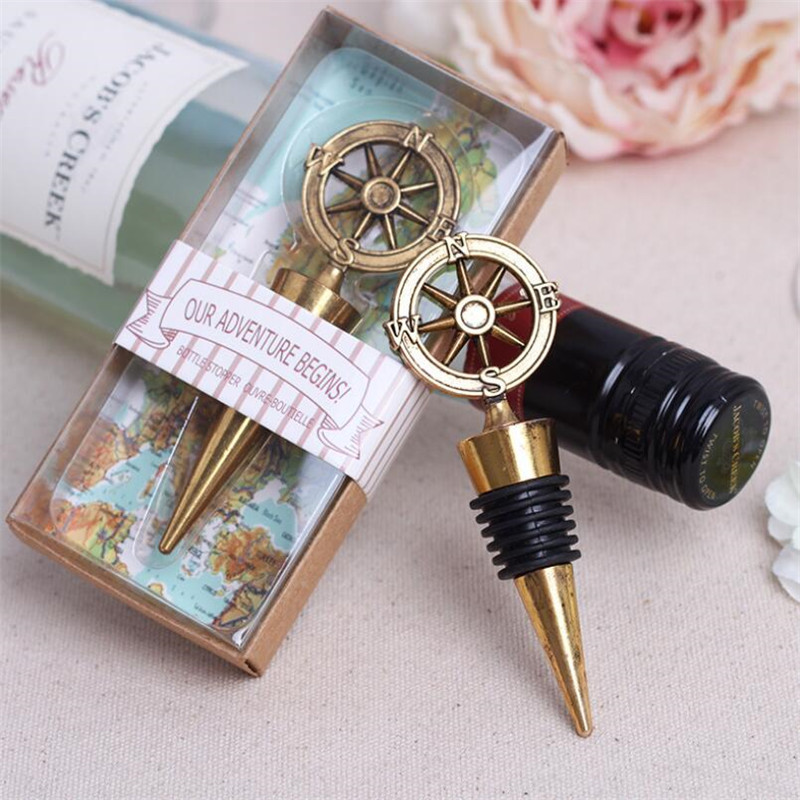 Wedding Wine Bottle Gifts: 50pcs/lot Golden Compass Wine Stopper Wedding Favors And