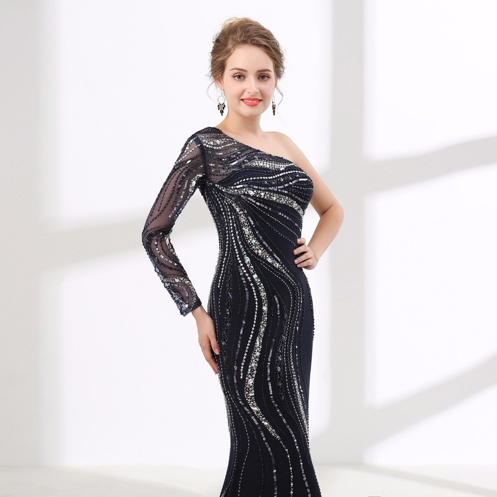 2018 Black One Shoulder Evening Dresses Nail bead Mermaid Backless Prom  Dresses Formal Evening Party Gowns Women Pageant Dress 06a07b7e2f19