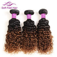 Soft Feel Hair Ombre Brazilian Kinky Curly Hair Weave Bundle 10 26 Inch Non Remy Human