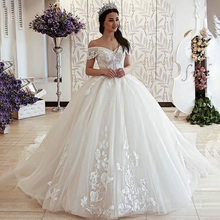White Off Shoulder Wedding Ball Gowns Lace Tulle Gown Dresses 2019 Up Back Bride