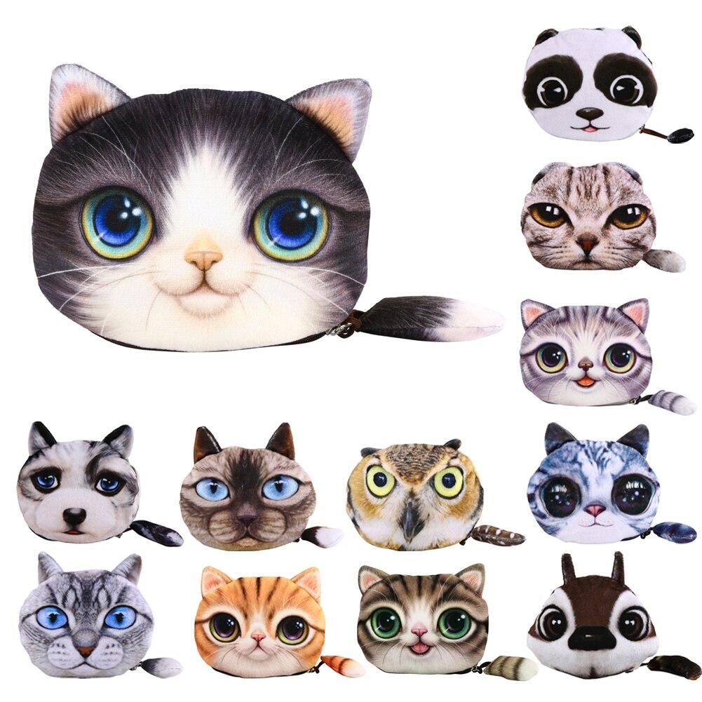2018 Hot Sale Animal Prints 3D Girl Zipper Mini Coin Purses Cat Zero Wallet Cute Key Pendant Wallet Bag Pouch Pencil Case