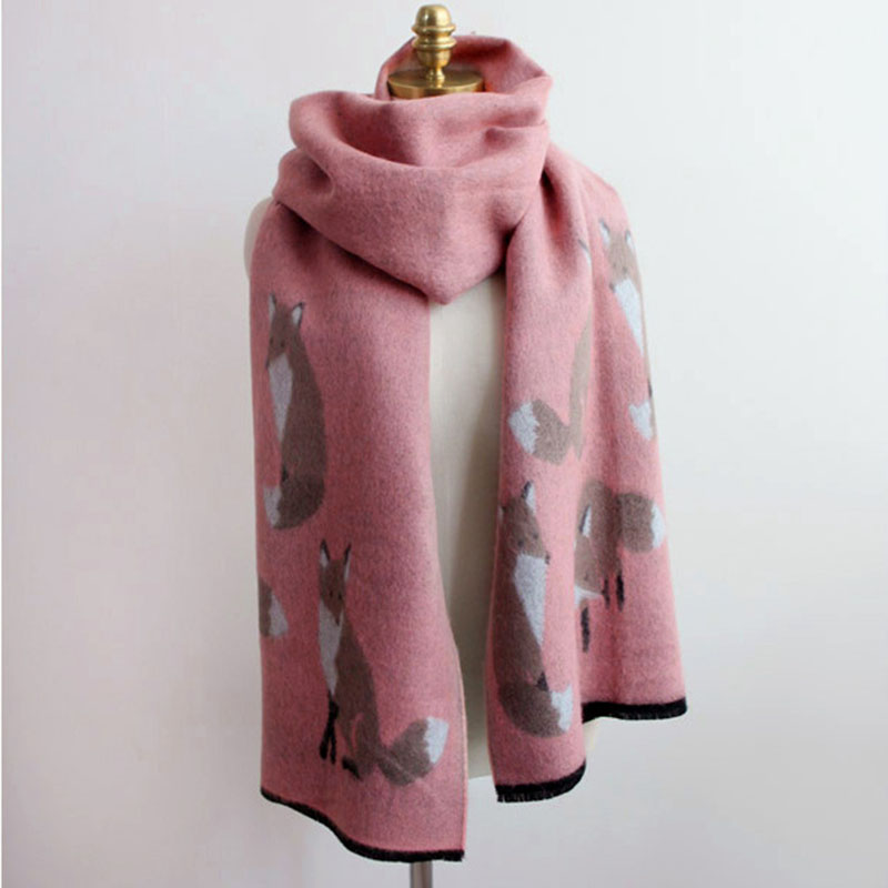 9500ea6c886ac Tassel Printed Fox Pattern Women Scarves Fashion Acrylic Neckerchief Large  Section Scarves 4 Colors Shawl Warm Muffler-in Women's Scarves from Apparel  ...