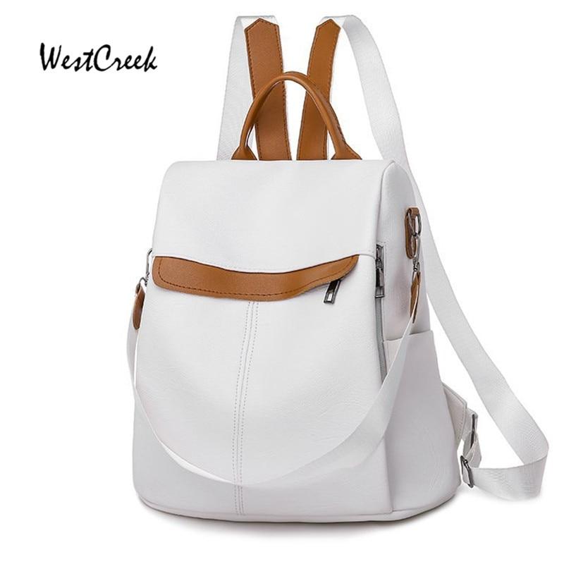 WESTCREEK Brand Anti-theft Shoulder Bag Women PU Leather Waterproof Multi-function Travel Bag Leisure Small Backpack Purse