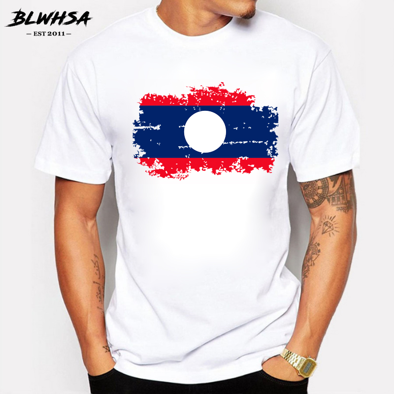 BLWHSA Laos Flag Men T Shirts Summer Fashion Short Sleeve Brand Design T-shirts For Men Funny Laos Tshirt Clothing