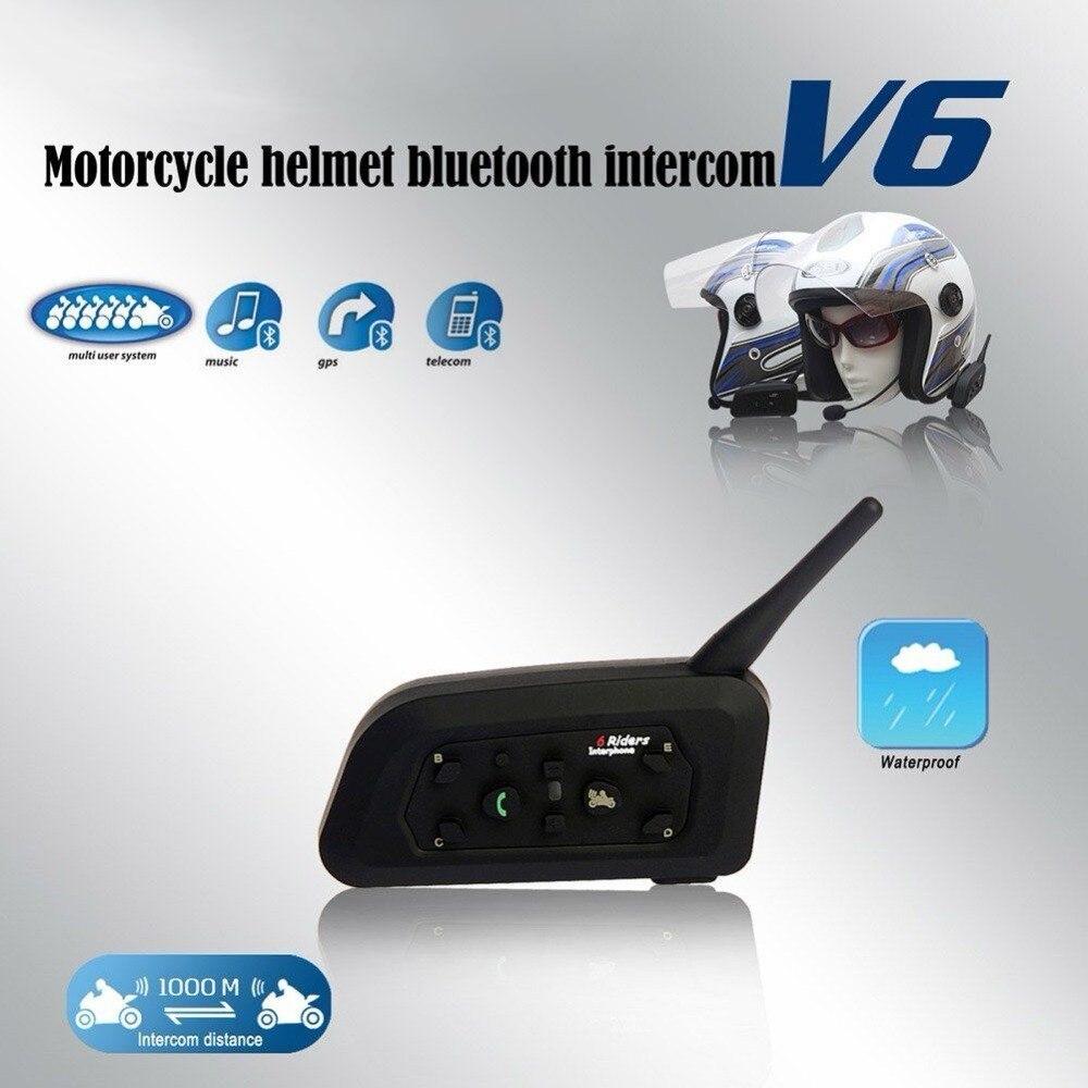 VnetPhone 1set V6 Intercom Helmet Bluetooth Headset Motorcycle Communication Intercomunicador 6Riders Interphone MP3 GPS