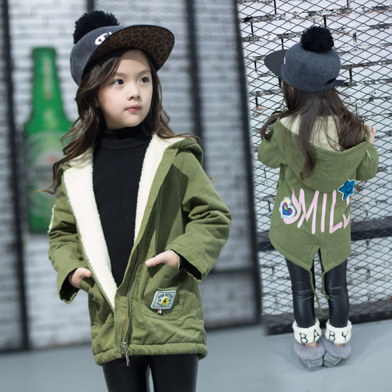 New 2017 Autumn Winter Kids Cashmere Girls Cartoon Letters Coats Children Fashion Jackets Toddler Clothes Army Green, 2-7Y литой диск replica fr ns807 6x15 4x100 d66 et45 s