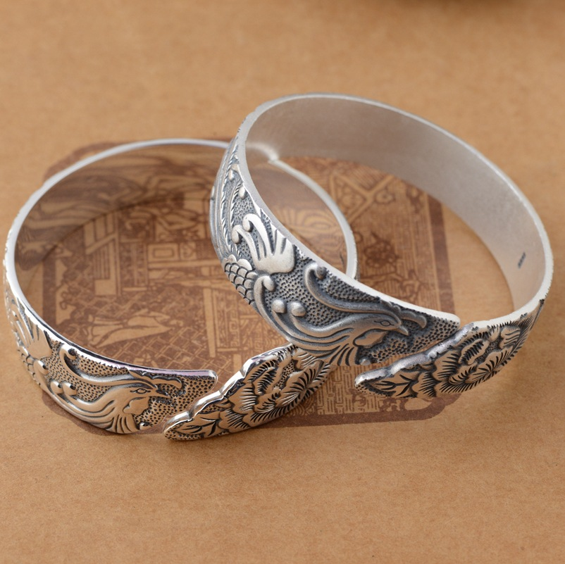 Thai silver wholesale S999 Silver Antique PH7 counter style female phoenix wear peony Bracelet hot explosion models
