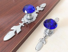 Blue Crystal Knobs Dresser Pulls handles Backplate / Glass Cabinet pulls Handle Knob Kitchen Cupboard Handle Bling Hardware