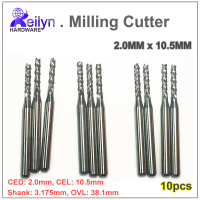 10PC 2 0x10 5x3 175mm Carbide End Mill PCB Milling Cutter CNC Cutter Mini Drill Bit