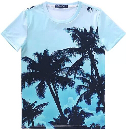 [Элмо] 2015 Лето женщины футболки печать Мода Печать Песчаный пляж Коко Случайные футболки Бесплатная доставка