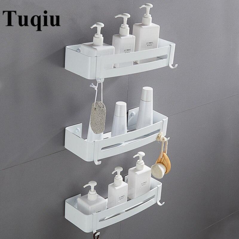 Wall Mounted White Aluminum Bathroom Soap Dish Bath Shower Shelf ...
