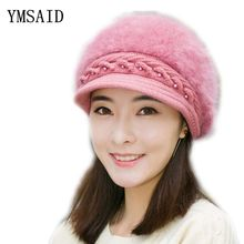 Elegante sombrero de mujer Otoño Invierno y gorros de punto sombreros para  mujer de piel de conejo de otoño y el invierno de las. 80d4fb52da06