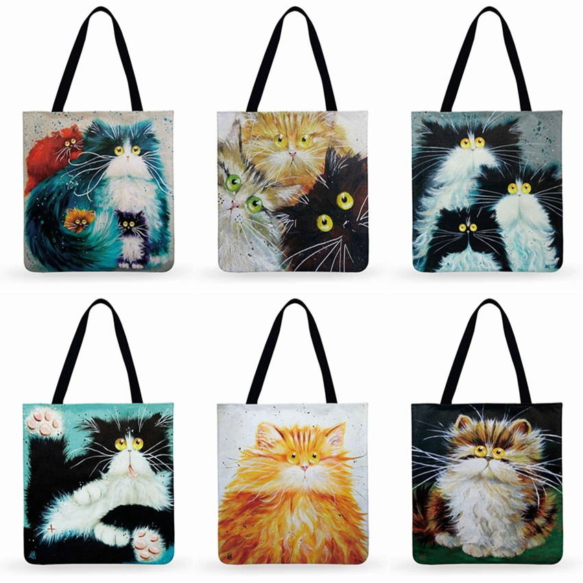 Fresh Cartoon Cat Printed Tote Bag For Women Linen Faric Bag Ladies Shoulder Bag Outdoor Casual Tote Foldable Shopping Bag