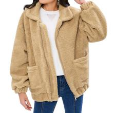 Yfashion Women Warm Fleece Jacket Fashionable Fluffy Coat Zipper Long Sleeve Top