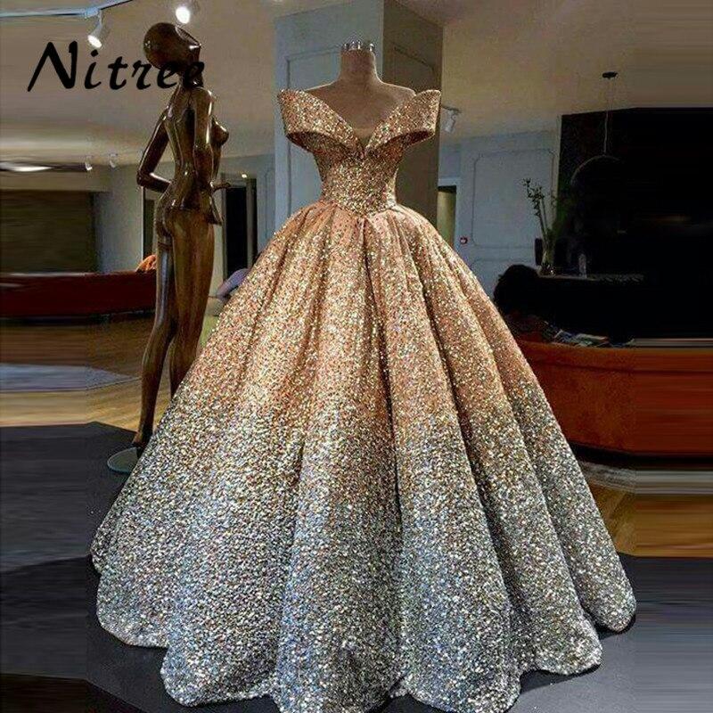 Muslim Bling Unique Fabric Evening Dress 2018 New Arabic Dubai