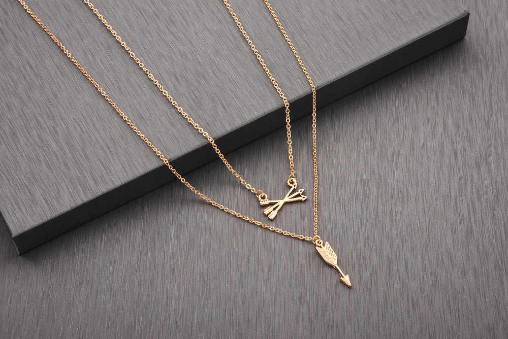 QIAMNI Gold Silver Double Layered Long Love Arrow สร้อยคอจี้แฟนวันเกิดของขวัญ Collier Bijoux เครื่องประดับ Boho