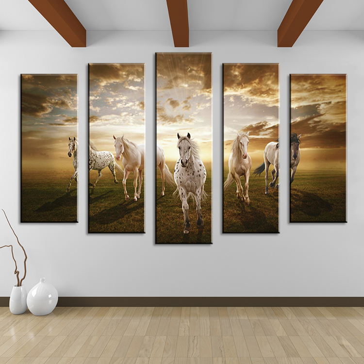 5 piece Wall Paintings Home Decorative Modern horse Art combination  Paintings for home creative idea decor No framed!-in Painting & Calligraphy  from Home ...