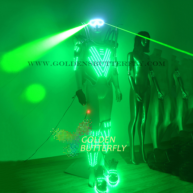 a74aaec043 LED Light Clothing Gem Design Luminous Costume Laser Glasses Dance Suit Men  Show Halloween Mardi Gras Science Robot Costumes