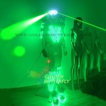 LED Light Clothing Gem Design Luminous Costume Laser Glasses Dance Suit Men Show Halloween Mardi Gras Science Robot Costumes