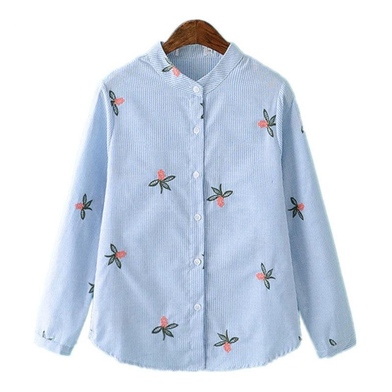 2019 jaro nové korejské oblečení dámská halenka s dlouhým rukávem příležitostné květinové výšivky pruhované bavlněné kancelářské ženy topy košile