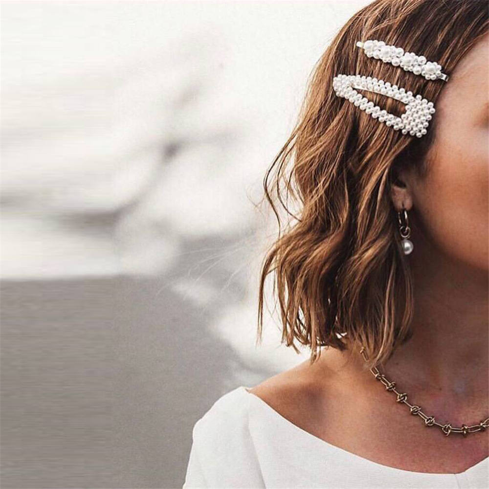 2019 New Fashion Pearl Hair Clip for Women Elegant Korean Design Snap Barrette Stick Hairpin Hair Styling Accessories Dropship