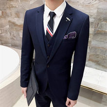 Men's Fashion Navy Blue Men Suits Slim Fit Custom Made Groom Prom Blaze Business Clothes 3 Piece Tuxedo (Jacket +Pant+Vest Terno(China)