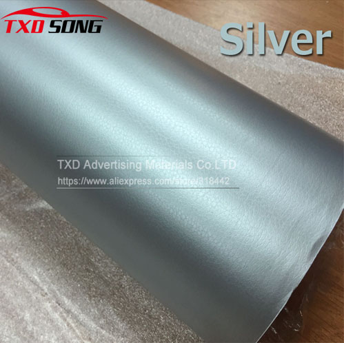 Silver Leather Vinyl Wrap Leather Pattern PVC Adhesive Vinyl Film Stickers Car Internal Decoration Size:1.52*30m/Roll