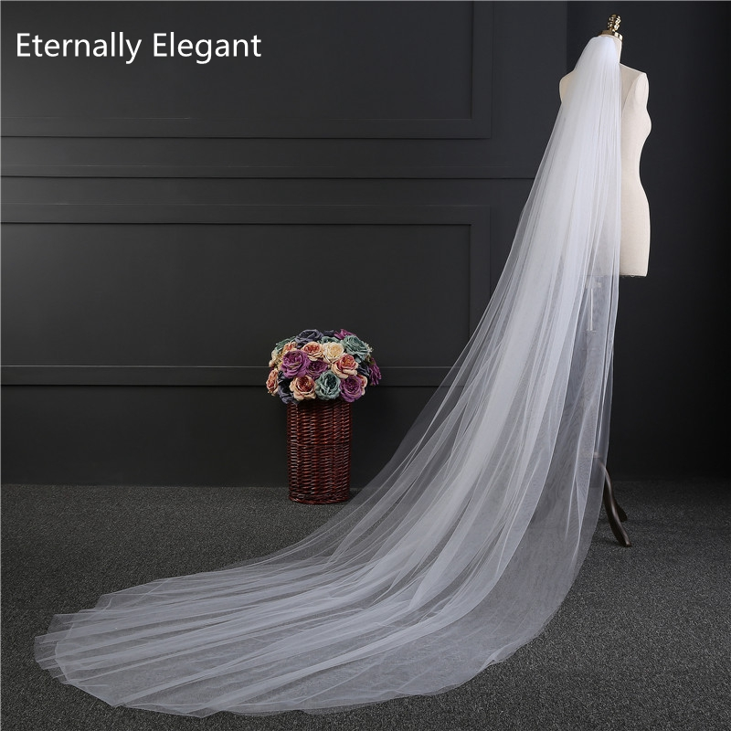Free Shipping Real Photos 3M White/Ivory Wedding Veil Multi-layer long Bridal Veil Head Veil Wedding Accessories Hot Sell MD3037