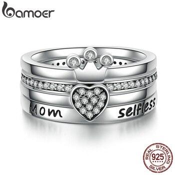 BAMOER 925 Ayar Gümüş Istiflenebilir Kalp, Taç, özensiz Anne Yüzük Kadınlar için Temizle CZ Otantik Gümüş Takı Hediye SCR028