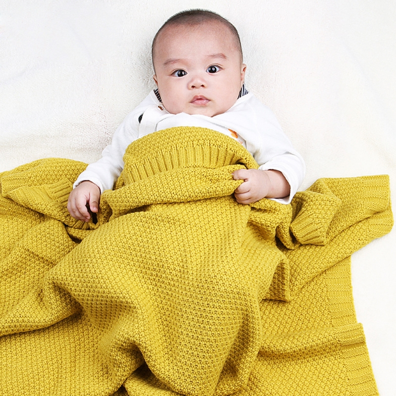 Baby Blankets Newborn Candy Color Infant Woolen Blanket Children Organic Cotton Knitted Baby Blanket chic quality casual style solid color cotton pattern knitted blanket