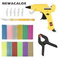 NEWACALOX 20W DIY Hot Melt Glue Gun With 60pcs 7mm Colorful Adhesive Hot Melt Glue Sticks