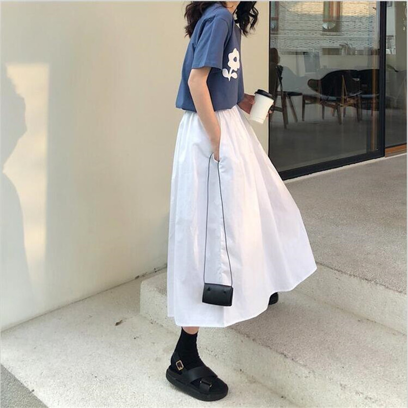 Autumn 2019 New Fashion Women Vintage Elegant A-Line Skirts Summer Elastic Waist Casual Loose Solid Skirts Plus Size M-7XL