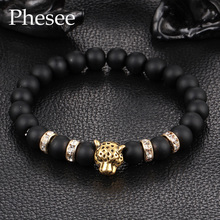 2016 Antique Crystal Gold and Silver Plated Buddha Leopard Head Bracelet Charm Yoga Bracelets For Men Women Pulseras E0432
