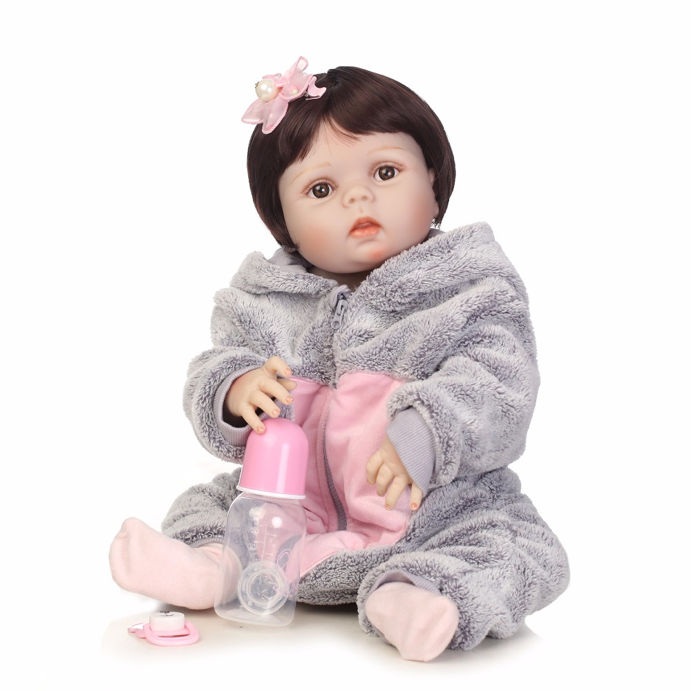 NPKCOLLECTION full silicone vinyl reborn dolls in Grey plush cat kit lifelike bebe doll  baby girl kids brithday gift toys large 24x24 cm simulation white cat with yellow head cat model lifelike big head squatting cat model decoration t187