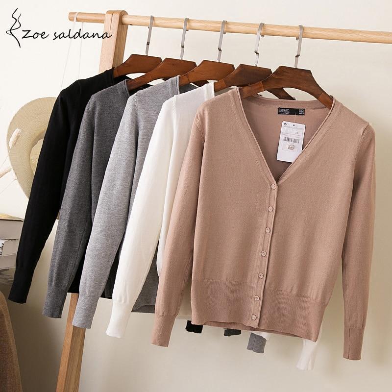 Zoe Saldana 2018 Summer Autumn Knitted Sweaters Women Long Sleeve V-neck Sweater Cardigans Plus Size Coat