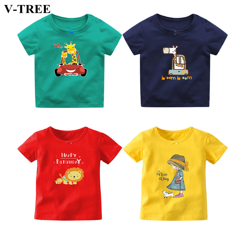 Cartoon Baby T-shirts Short-sleeve T Shirt For Boys Cotton Girls Tops Todder Tees Kids Outerwear Clothing