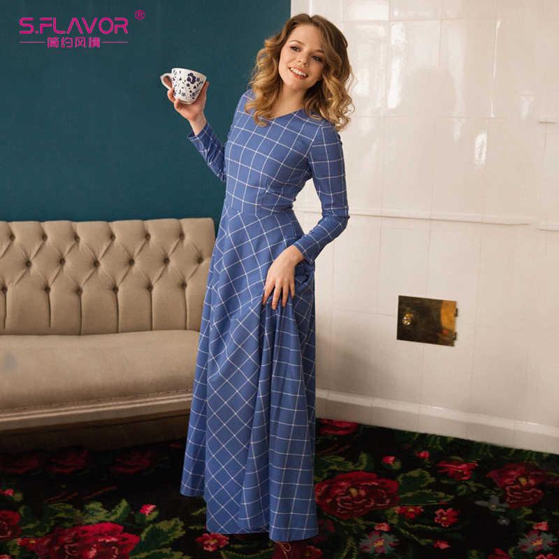 S. FLAVOR элегантное женское Ретро длинное платье 2019 Модное новое осенне-зимнее клетчатое сексуальное платье с v-образным вырезом и длинным рукавом тонкие вечерние платья