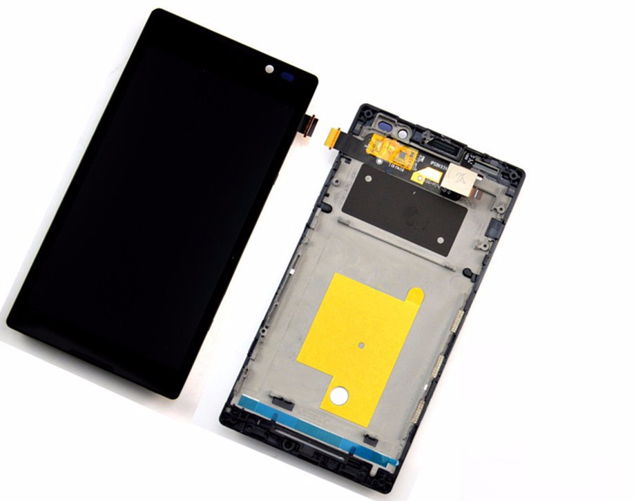 A LCD Display touch screen with digitizer Bezel Frame Assembly For Sony Xperia C Dual S39H
