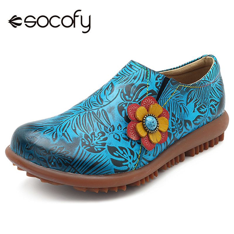 Socofy Printed Genuine Leather Flat Shoes Woman Vintage Loafers Soft Sole Slip-on Round Toe Women Shoes Flats Summer Sneakers 2018 vintage style designer women flats genuine leather round toe bow slip on loafers comfortable handmade shoes woman big size