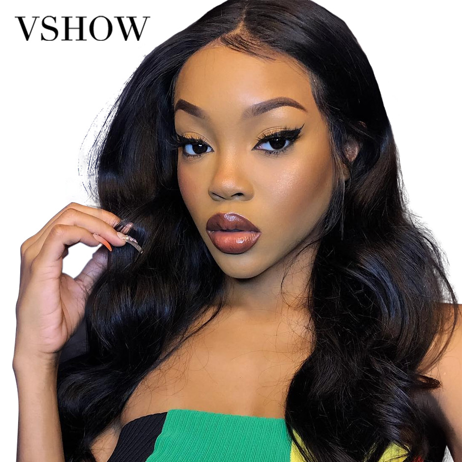 VSHOW Pre Plucked 13 4 Lace Front Human Hair Wigs For Women 13x6 Brazilian Body Wave Lace Front Wig Black 250 Density Remy Hair in Human Hair Lace Wigs from Hair Extensions Wigs