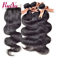 "3 Bundles 8A Brazilian Virgin Hair With Closure,Ruiyu Hair Products With Closure Bundle 8""-24"" Human Hair Lace Closure No Mix"