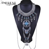 Fake Collar Necklace With Synthetic Blue Stone Link Chain Body Jewelry Accessories Wholesale Statement Jewellry Designer