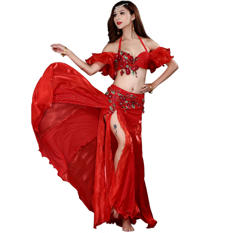 Bra Belt-Skirt Bellydancing-Wear Stage-Performance Oriental Adult Women Lady New 2/3pcs-Set title=