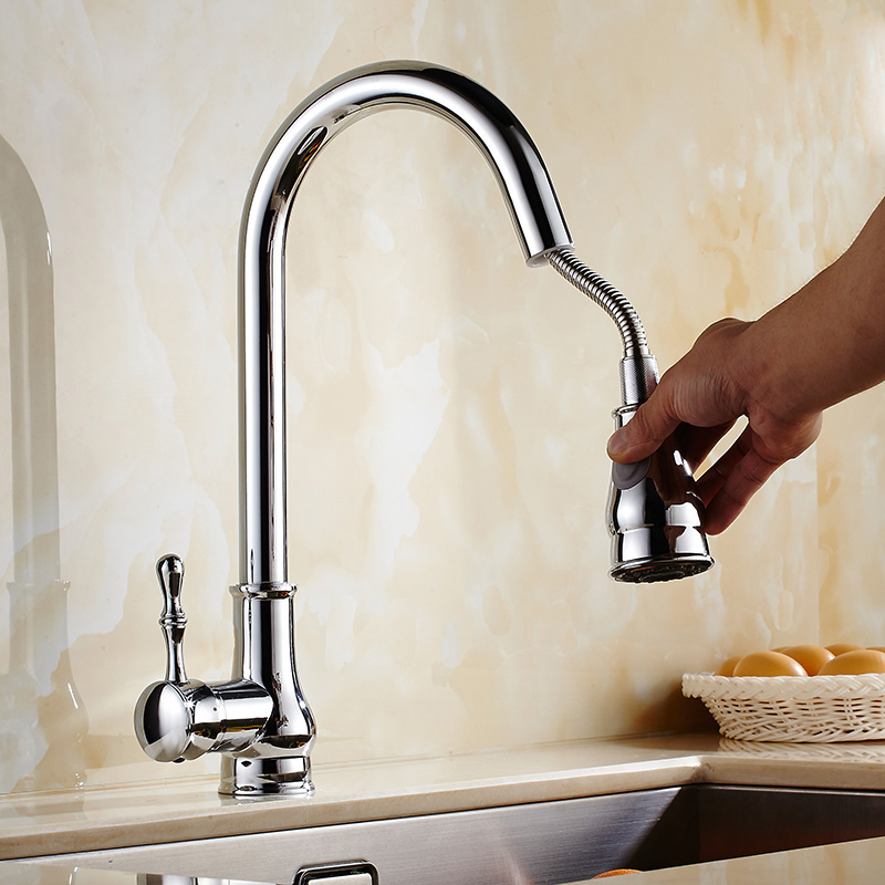 OUYASHI Pull Out Kitchen Faucet 360 Degree Single Handle Single Hole Deck Mounted Mixer Tap Water Tap
